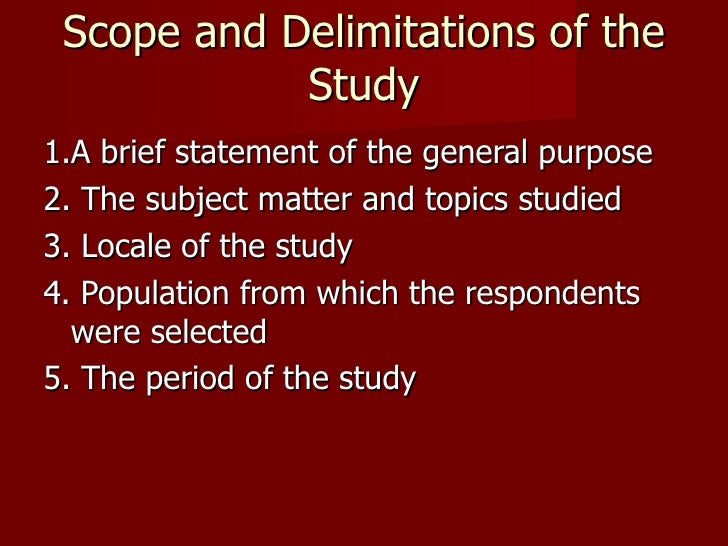 scopes and limitations research paper