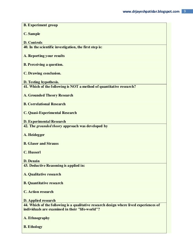 Nursing research quiz series