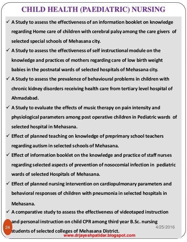 paediatric nursing research topics