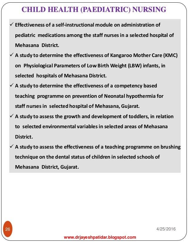 new research in pediatric nursing