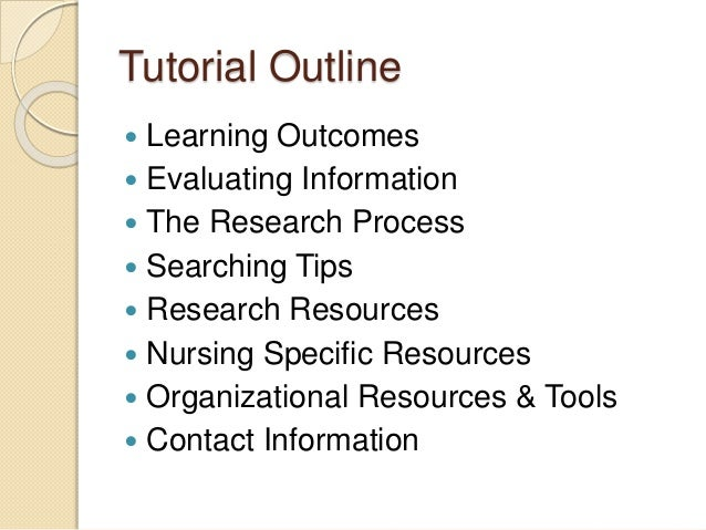 Nursing resources & research tutorial