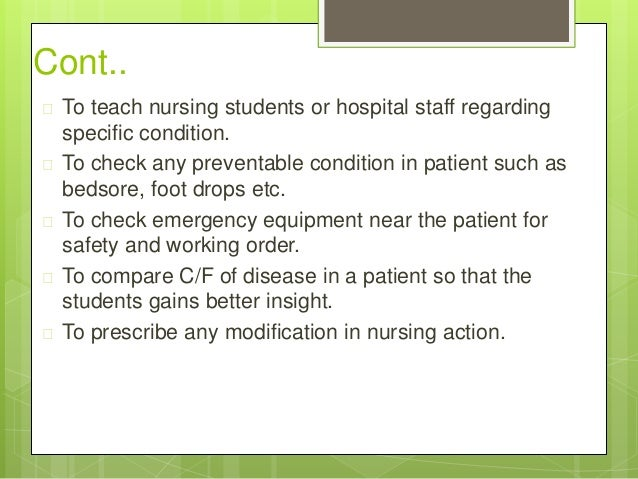 nursing rounds Uko-udom b introduction of drug round tabard and checklist to reduce  nursing staff carry out medication rounds in the  drug round tabard and checklist to.