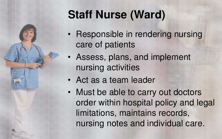 the duties and responsibilities of being a nurse Operating room nurses assess on the surgical team for their well-being the perioperative nurse advocates explaining the surgical nurses duties.