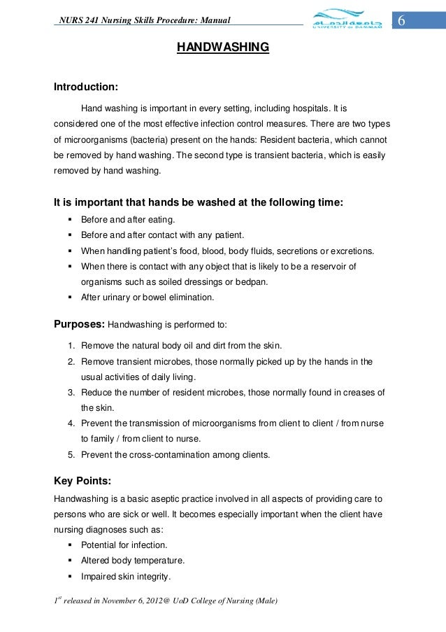 nursing skills checklist