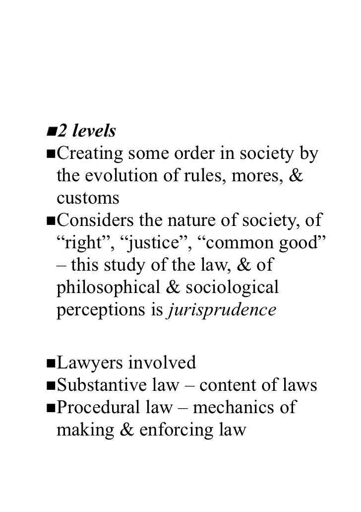 The LawUnderstanding law n 2 levels nCreating  some order in society by  the evolution of rules, mores, &  customs nConsid...