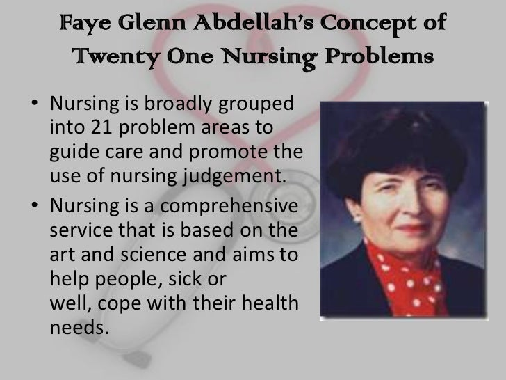 the twenty one nursing problem of faye glenn abdellah