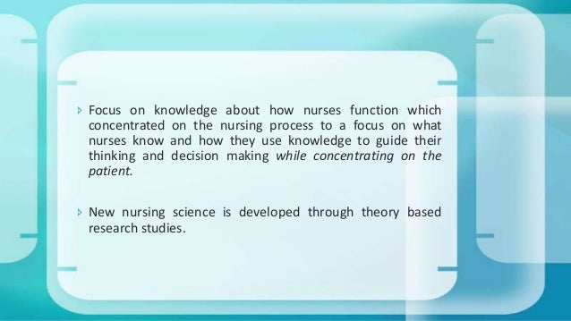 nursing theories The role of nursing theorists in nursing research posted on february 5, 2010 by ebrennan | 5 comments by cheryl bartel, mlis msn-entry student, western university of the health sciences.