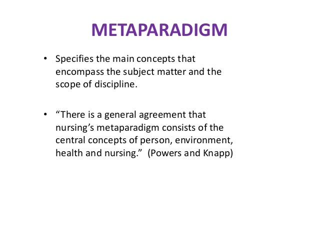 metaparadigm as related to the theory My metaparadigm as related to the theory of comfort introduction practicing as a nurse, i realize i follow my own metaparadigm of nursing in this paper, i relate my own personal beliefs.