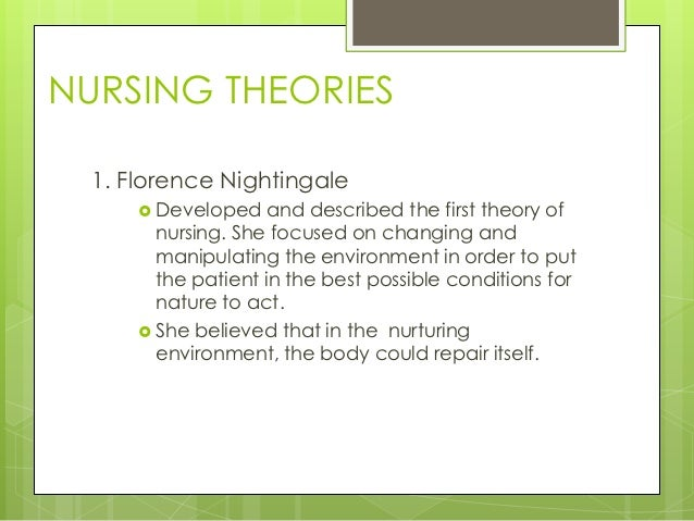 nursing as defined by me florence nightingale Florence nightingale's environment theory changed the nursing profession forever.