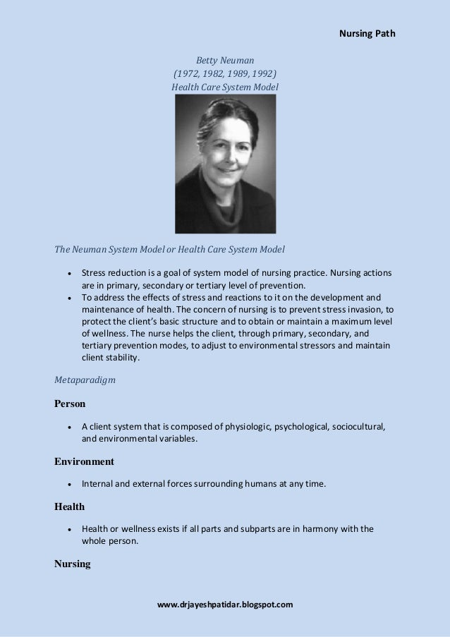 limitation of betty neuman theory Betty neuman's system model the philosophic bases of the neuman systems model encompasswholism, a wellness orientation the concepts appreciating the theory.