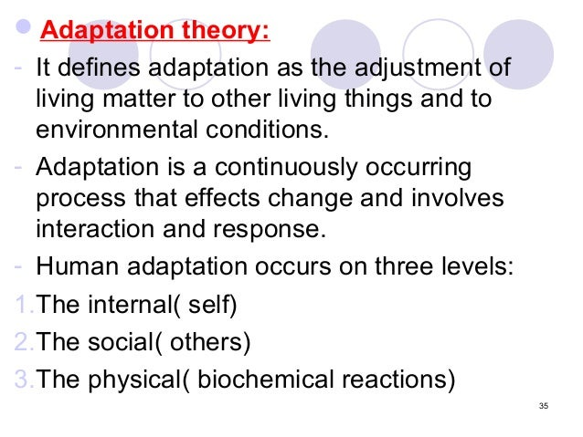 adaptation model theory analysis Roy's model presentation 7 introduction of the model/theory adaptation was first introduced to ms roy in an analysis of roy's adaptation model of nursing.