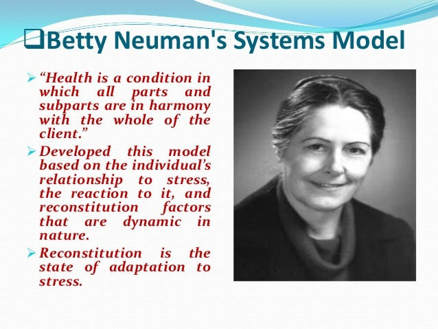 nursing practice and betty neuman systems theory Nursing theories and the practice of nursing   to utilize this theory in the nursing practice,  betty neuman developed the neuman systems model to provide a.
