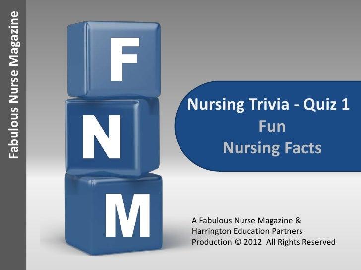 Fabulous Nurse Magazine                          Nursing Trivia - Quiz 1                                   Fun            ...