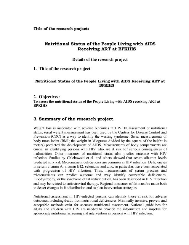 Title of the research project:  Nutritional Status of the People Living with AIDS Receiving ART at BPKIHS Details of the r...