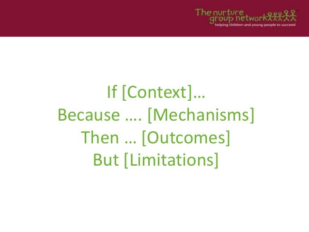 If [Context]… Because …. [Mechanisms] Then … [Outcomes] But [Limitations]