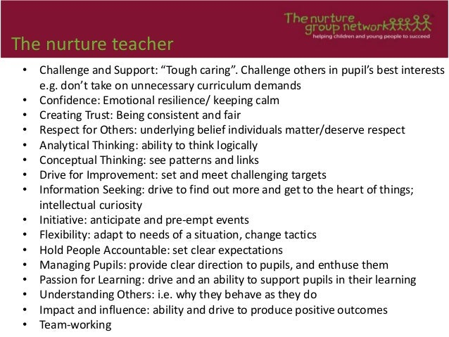 """The nurture teacher • Challenge and Support: """"Tough caring"""". Challenge others in pupil's best interests e.g. don't take on..."""