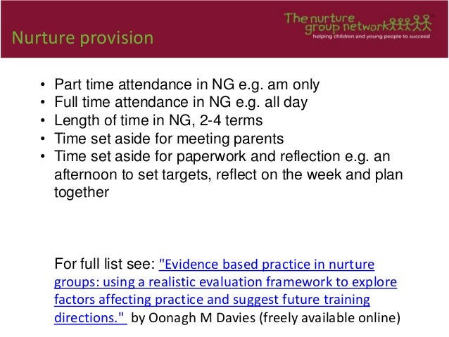 Nurture provision • Part time attendance in NG e.g. am only • Full time attendance in NG e.g. all day • Length of time in ...