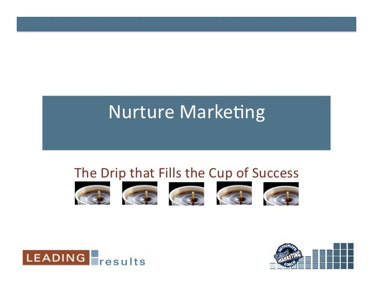 Nurture	   Marke*ng	     The	   Drip	   that	   Fills	   the	   Cup	   of	   Success