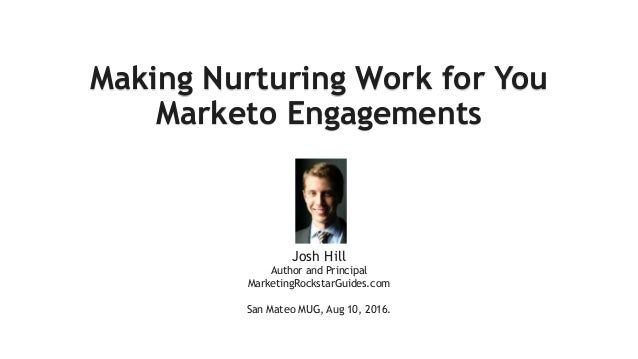 Making Nurturing Work for You Marketo Engagements A short guide Josh Hill Author and Principal MarketingRockstarGuides.com...