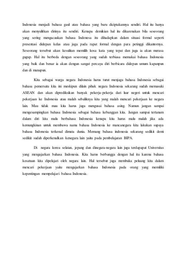 Kasus Bahasa Indonesia Sebagai Pemersatu Bangsa