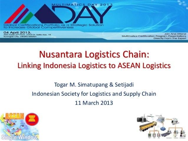 Nusantara Logistics Chain:Linking Indonesia Logistics to ASEAN Logistics            Togar M. Simatupang & Setijadi    Indo...