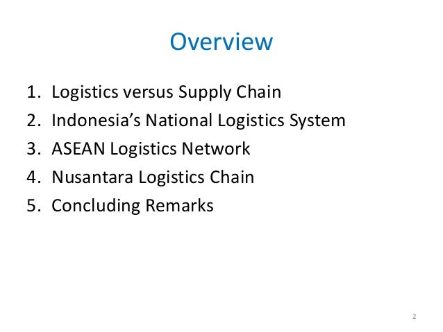 Overview1.   Logistics versus Supply Chain2.   Indonesia's National Logistics System3.   ASEAN Logistics Network4.   Nusan...