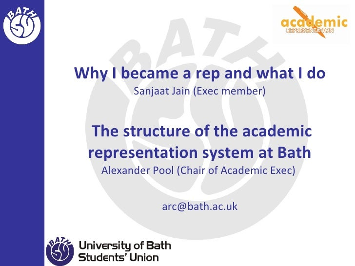 Why I became a rep and what I do Sanjaat Jain (Exec member)  The structure of the academic representation system at Bath A...