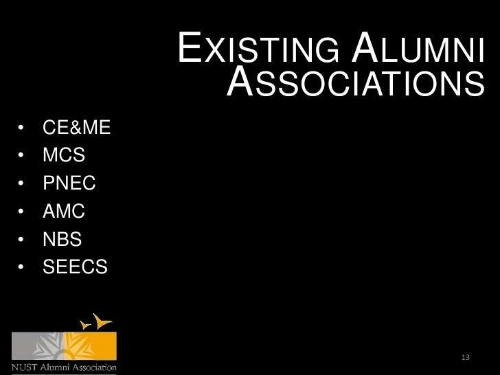 EXISTING ALUMNI              ASSOCIATIONS•   CE&ME•   MCS•   PNEC•   AMC•   NBS•   SEECS                         13