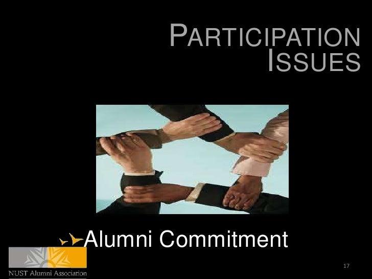 PARTICIPATION             ISSUESAlumni Commitment                    17