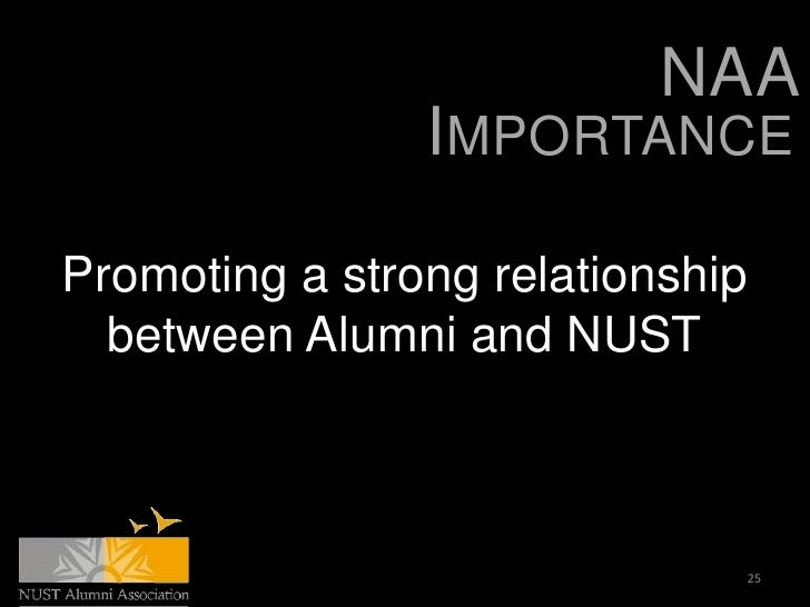 NAA                IMPORTANCEPromoting a strong relationship  between Alumni and NUST                              25