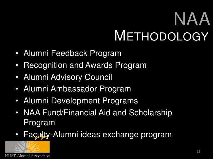 NAA                         METHODOLOGY• Alumni Feedback Program• Recognition and Awards Program• Alumni Advisory Council•...