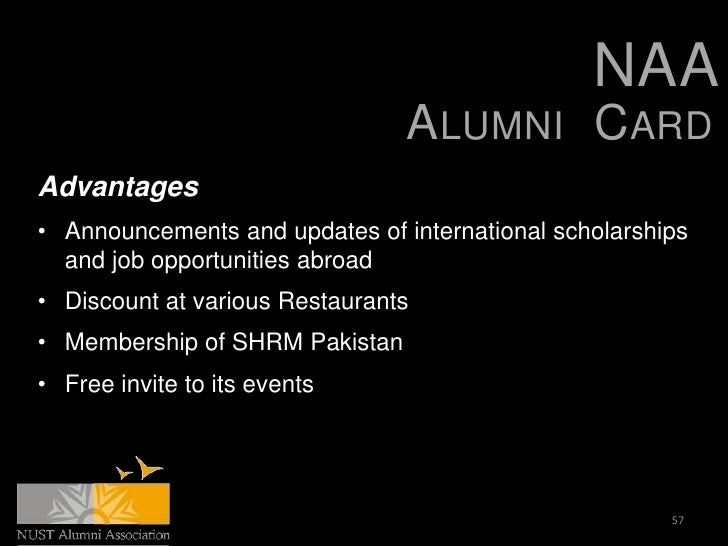 NAA                                ALUMNI CARDAdvantages• Announcements and updates of international scholarships  and job...