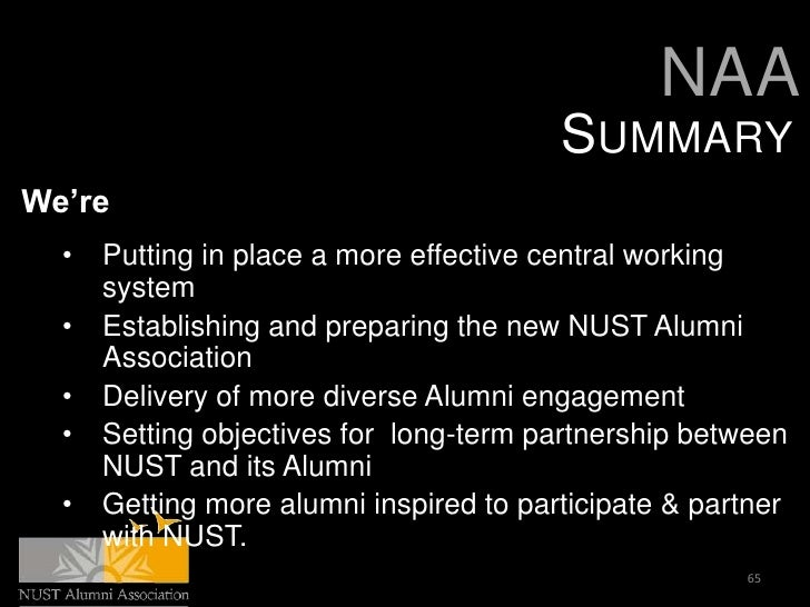 NAA                                         SUMMARYWe're  •   Putting in place a more effective central working      syste...