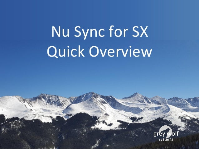 Nu Sync for SX Quick Overview