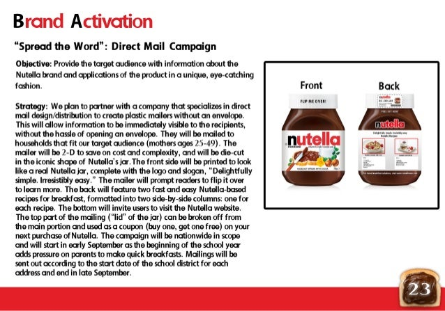 nutella analysis Case ferrero (1) - download as word doc (doc strengths strong brands0 swot analysis the swot analysis is inclined mostly towards the festive season and has identified strengths and weaknesses of ferrero uk nutella and kinder surprise have a significant amount of trust and.