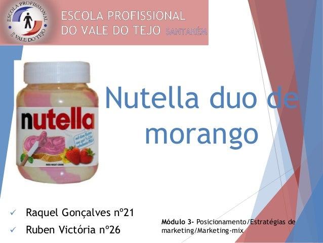 Nutella duo de  morango   Raquel Gonçalves nº21   Ruben Victória nº26  Módulo 3- Posicionamento/Estratégias de  marketin...