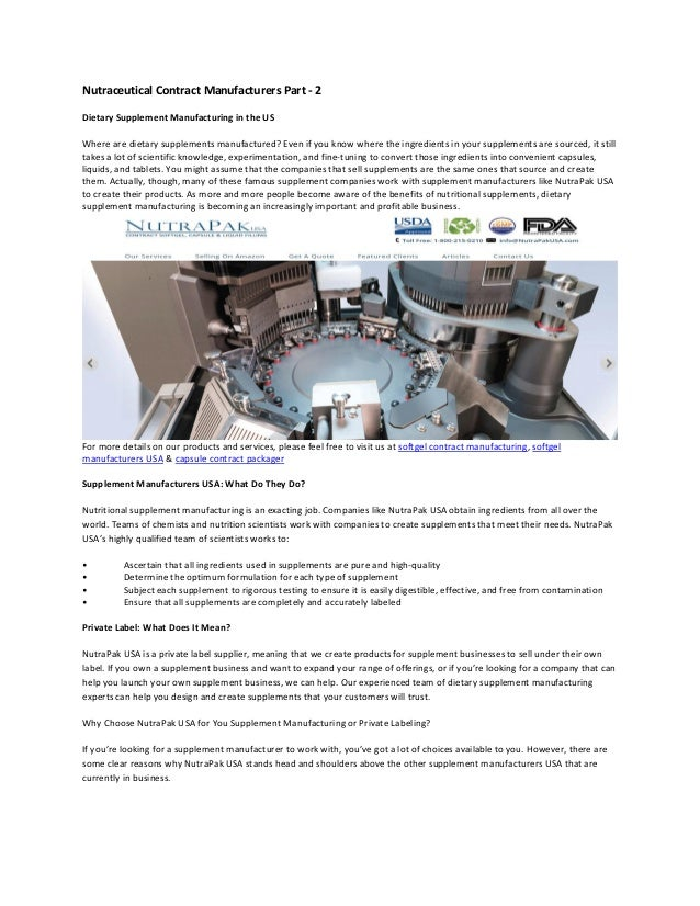 Nutraceutical contract manufacturers part 2