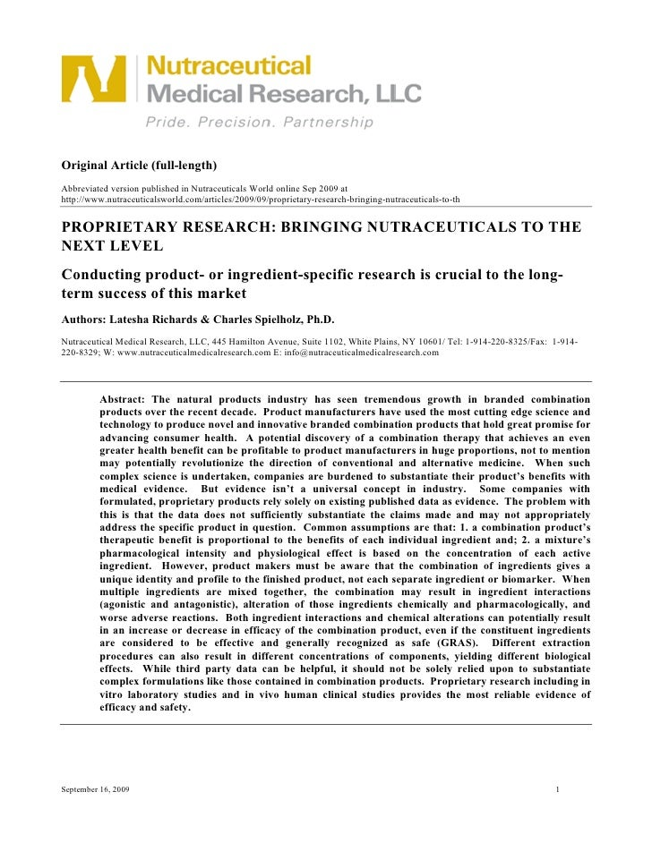 Original Article (full-length) Abbreviated version published in Nutraceuticals World online Sep 2009 at http://www.nutrace...