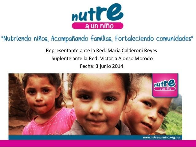 Representante ante la Red: María Calderoni Reyes Suplente ante la Red: Victoria Alonso Morodo Fecha: 3 junio 2014