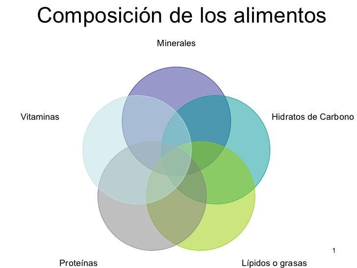 Composición de los alimentos Minerales Hidratos de Carbono Lípidos o grasas Proteínas Vitaminas