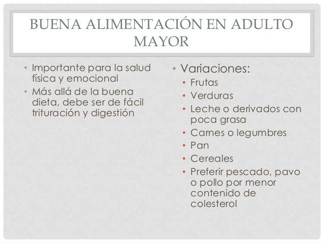 Nutrición en adulto y adulto mayor