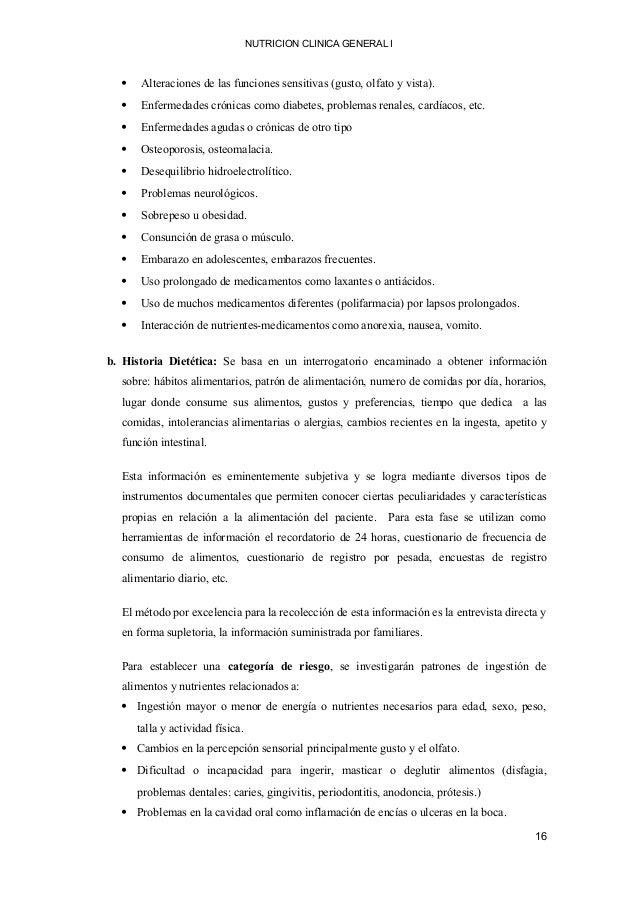 NUTRICION CLINICA GENERAL I  Alteraciones de las funciones sensitivas (gusto, olfato y vista).  Enfermedades crónicas co...