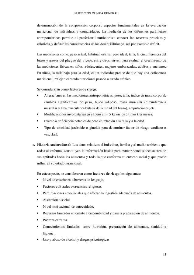 NUTRICION CLINICA GENERAL I determinación de la composición corporal, aspectos fundamentales en la evaluación nutricional ...
