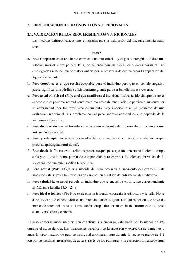 NUTRICION CLINICA GENERAL I 2. IDENTIFICACION DE DIAGNOSTICOS NUTRICIONALES 2.1. VALORACION DE LOS REQUERIMIENTOS NUTRICIO...