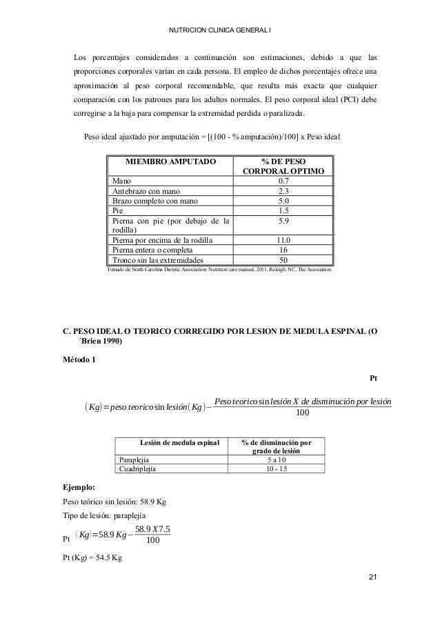 NUTRICION CLINICA GENERAL I Los porcentajes considerados a continuación son estimaciones, debido a que las proporciones co...