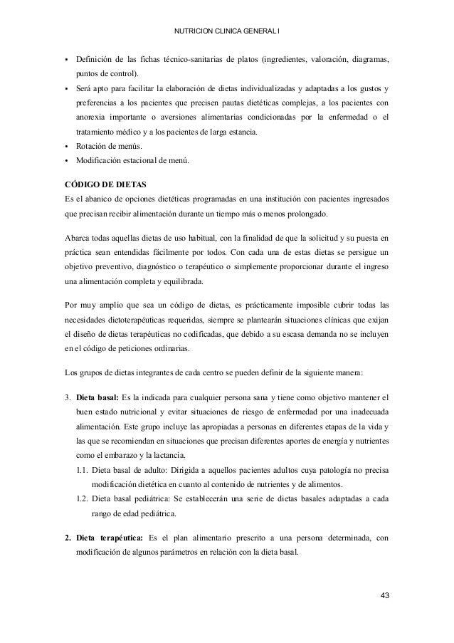 NUTRICION CLINICA GENERAL I • Definición de las fichas técnico-sanitarias de platos (ingredientes, valoración, diagramas, ...