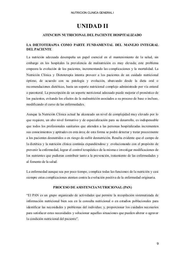 NUTRICION CLINICA GENERAL I UNIDAD II ATENCION NUTRICIONAL DEL PACIENTE HOSPITALIZADO LA DIETOTERAPIA COMO PARTE FUNDAMENT...