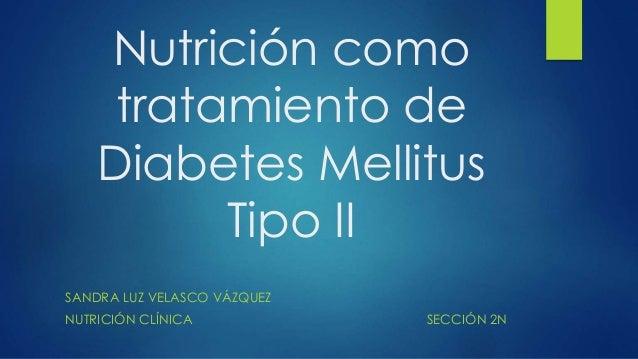 Nutrición como  tratamiento de  Diabetes Mellitus  Tipo II  SANDRA LUZ VELASCO VÁZQUEZ  NUTRICIÓN CLÍNICA SECCIÓN 2N