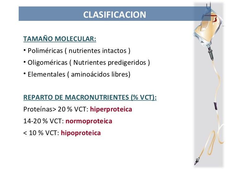 CLASIFICACION <ul><li>TAMAÑO MOLECULAR: </li></ul><ul><li>Poliméricas ( nutrientes intactos ) </li></ul><ul><li>Oligoméric...