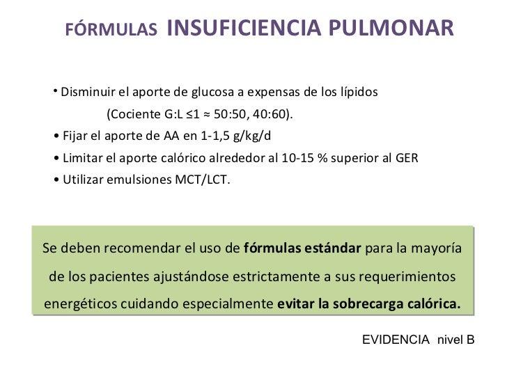 FÓRMULAS  INSUFICIENCIA PULMONAR <ul><li>Disminuir el aporte de glucosa a expensas de los lípidos </li></ul><ul><li>  (Coc...